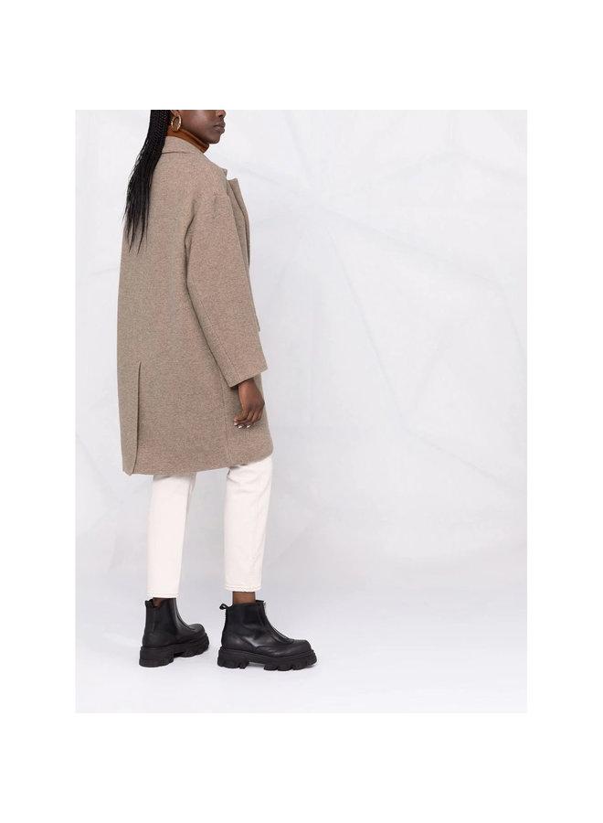 Limiza Knee Length Coat in Beige