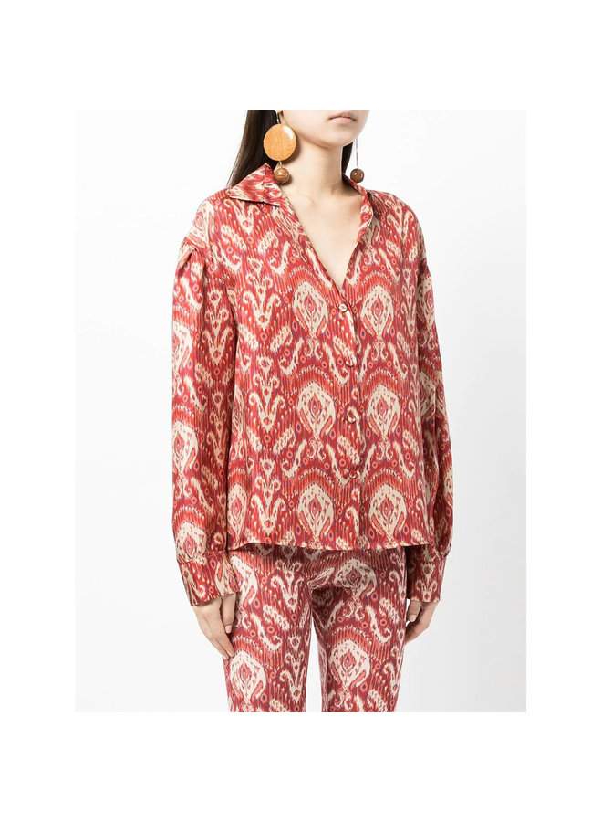 Long Sleeve Printed Shirt in Red