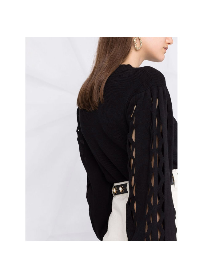 Puff Sleeve Knitted Sweater in Black