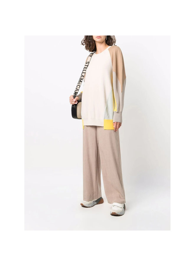 Contrast-Panel Knitted Sweater in Camel
