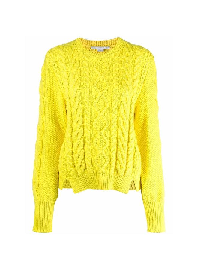 Aran-Knit Cropped Sweater in Lemon