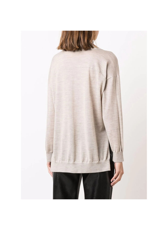 V-Neck Knitted Polo Sweater in Beige