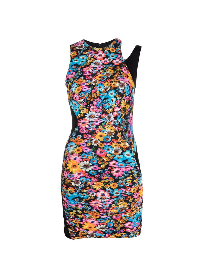Mini Printed Dress in Multicolor Pink