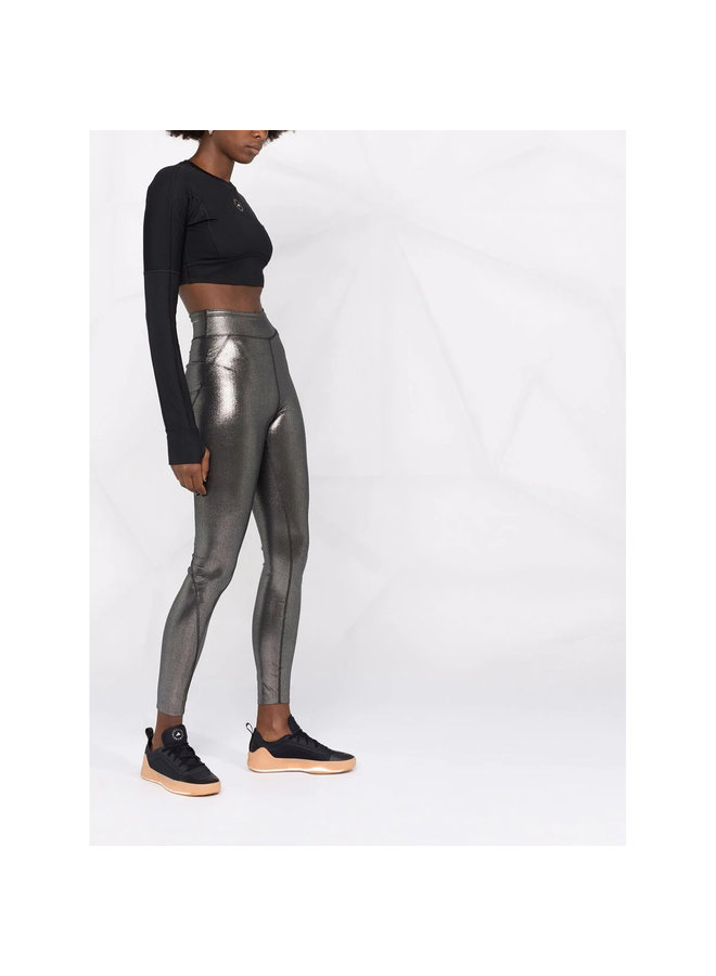High Waisted Leggings in Shiny Silver