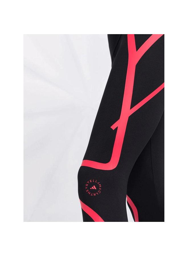 High Waisted Leggings in Black/Pink