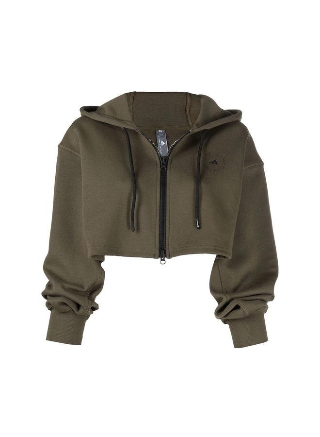 Cropped Zip Front Hoodie Jacket