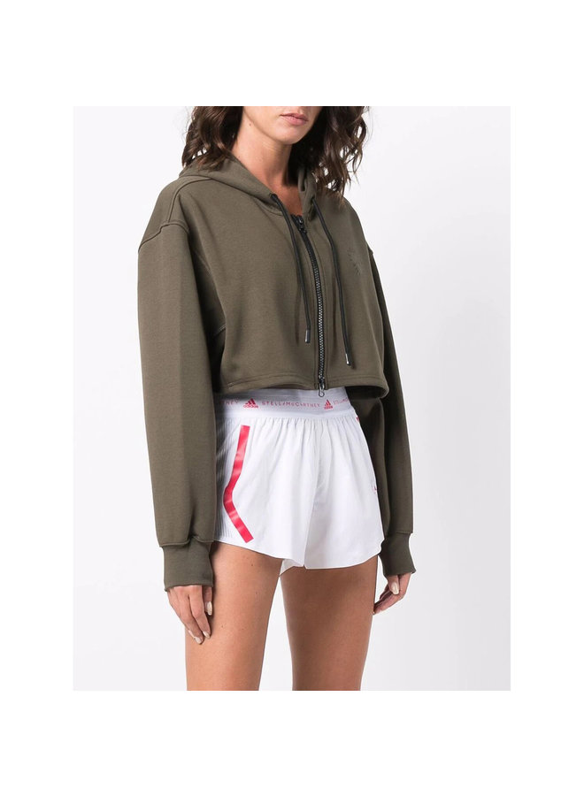 Cropped Zip Front Hoodie Jacket in Khaki