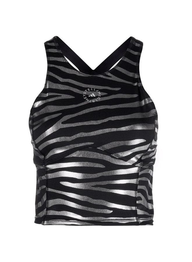 Printed Tank Top in Zebra Black/Silver