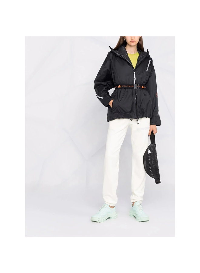 Belted Hooded Jacket in Black