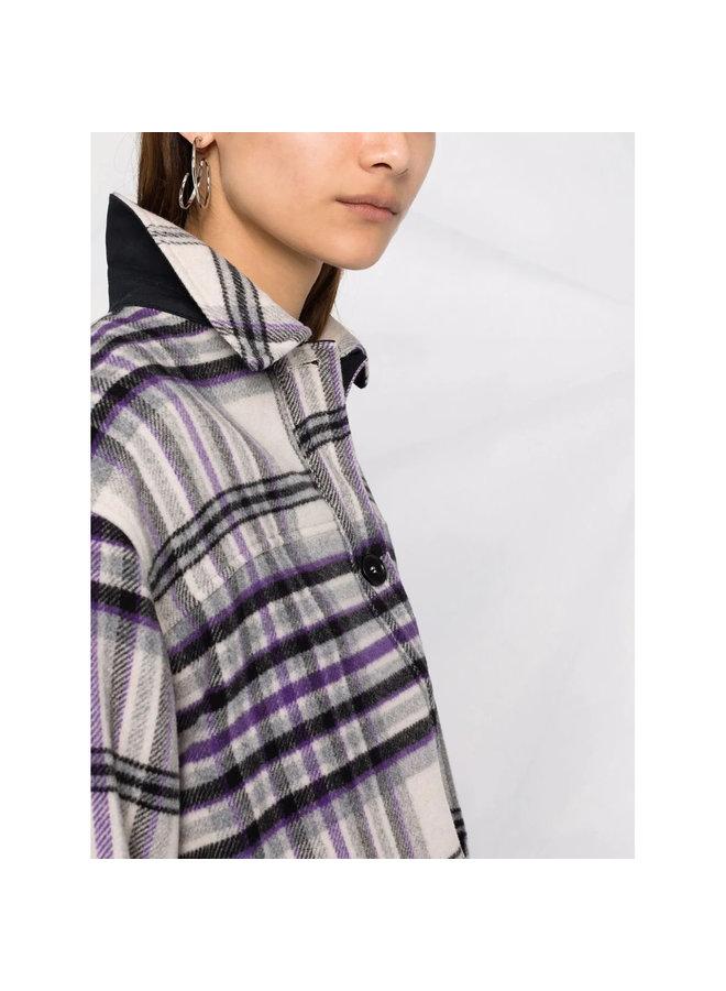 Short Finged Shirt Jacket in Grey/Purple