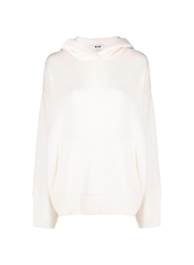 Knitted Pullover Hoodie in Off-White