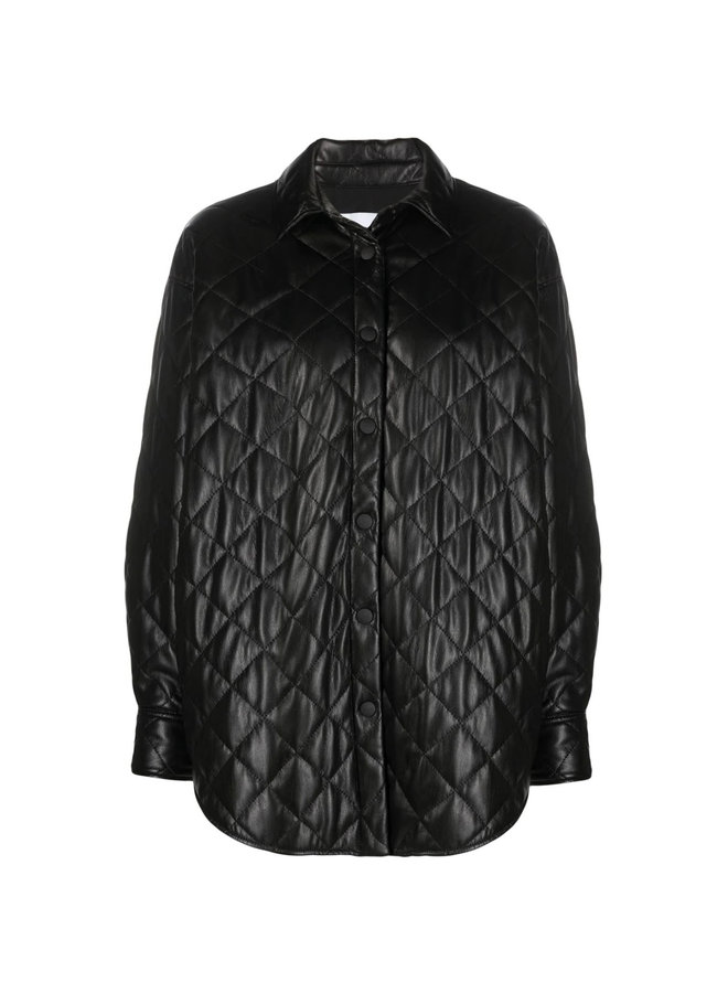 Quilted Outwear Shirt Jacket in Black