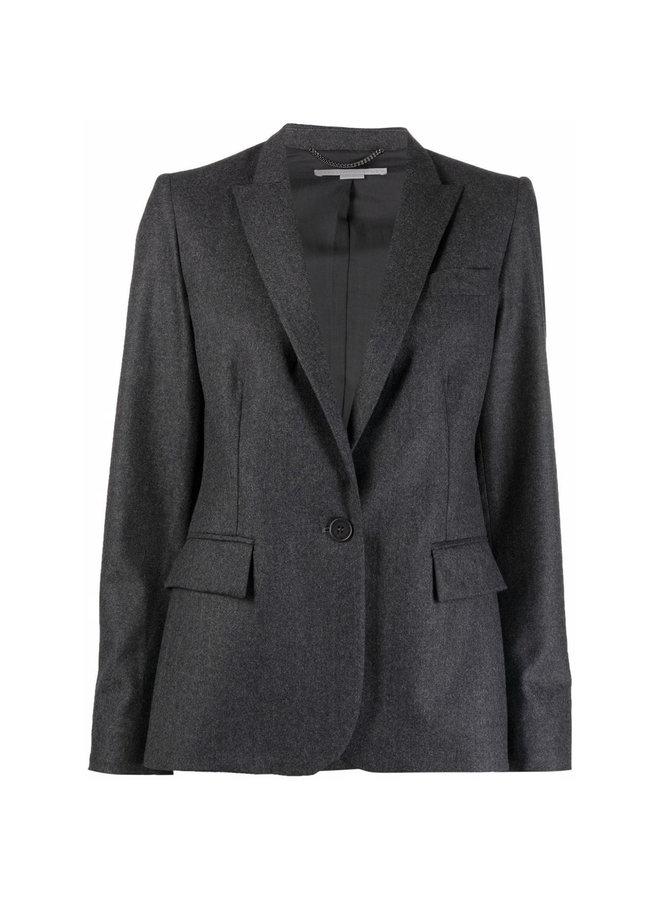 Single Breasted Blazer Jacket in Grey Mélange