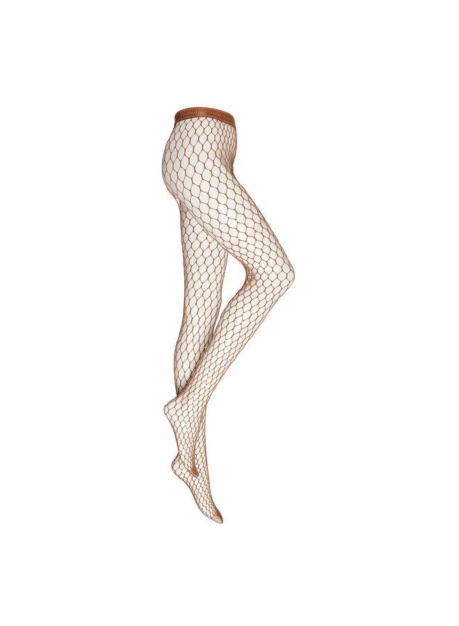 Crystal Embellished Net Tights in Honey