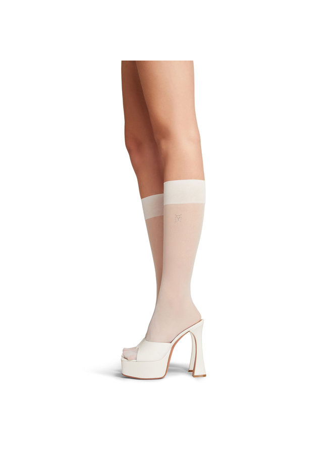 Embellished Logo Socks in White