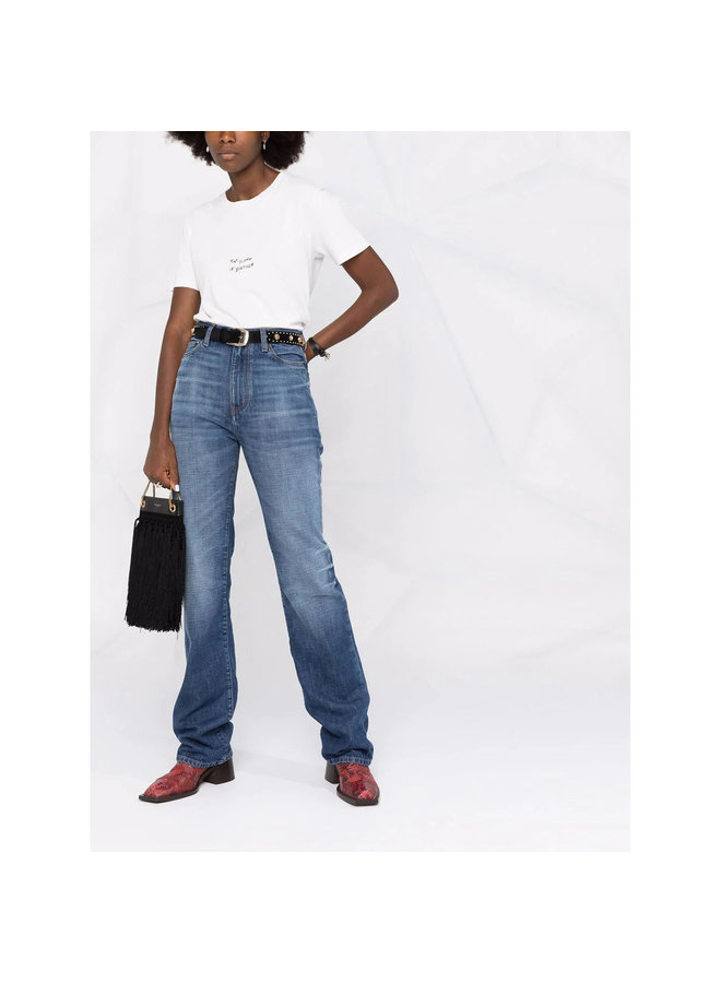 High Waisted Straight Leg Jeans in Dark Bleached Blue