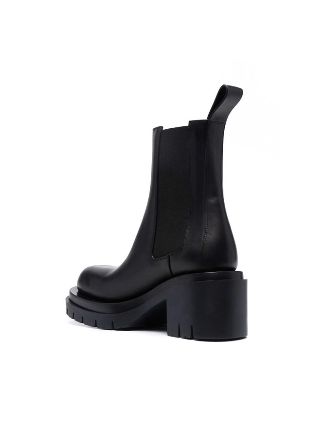Lug Mid Heel Ankle Boots in Black
