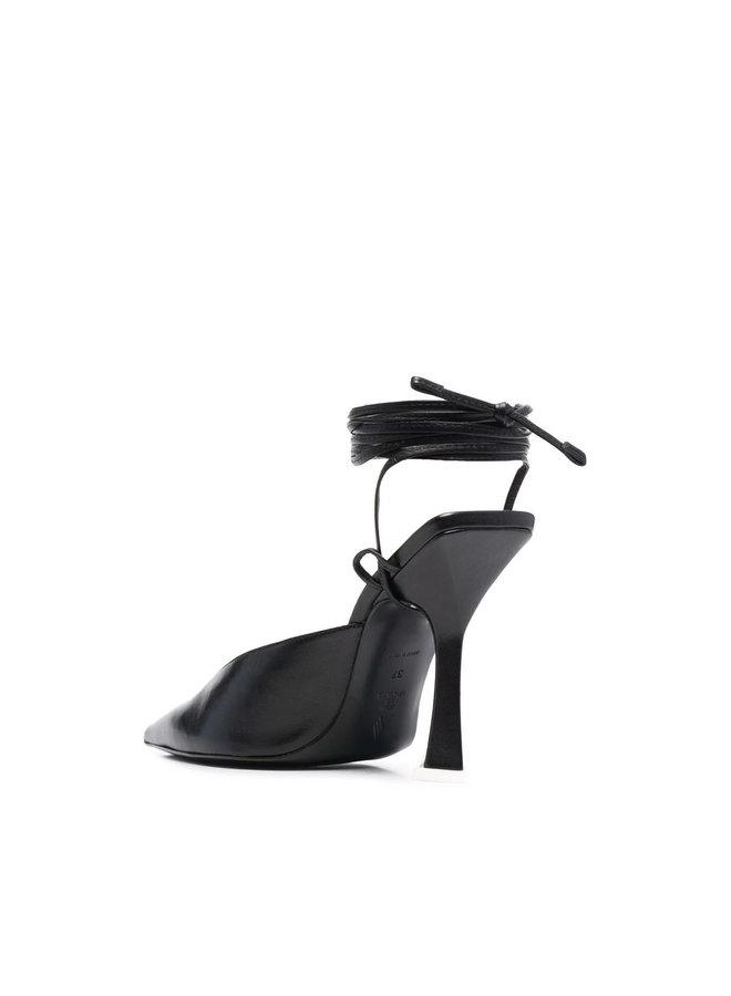 High Heel Ankle Wrap Pumps in Black
