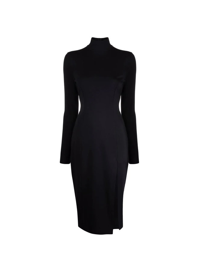 Turtleneck Long Sleeve Midi Dress