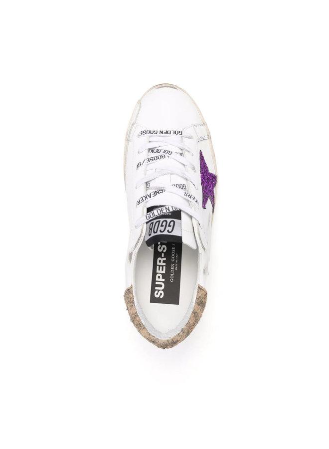 Superstar Low Top Sneakers in White/Purple