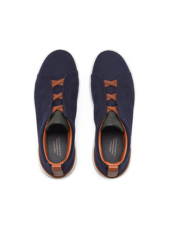 Triple Stitch Low Top Sneakers in Blue/Vicuna