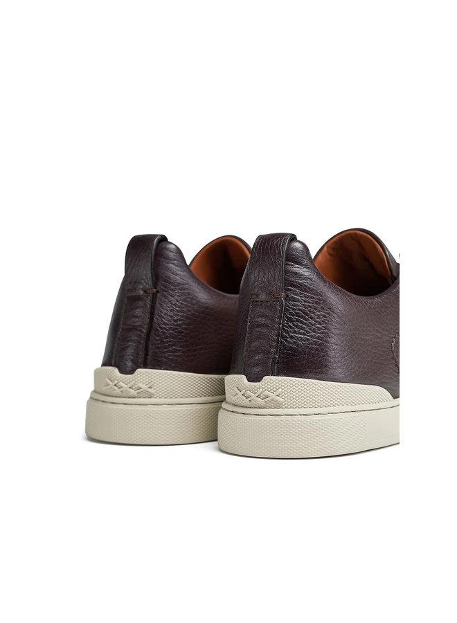 Triple Stitch Low Top Sneakers in Burgandy