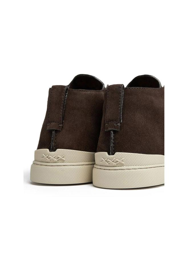 Triple Stitch High Top Sneakers in Dark Brown