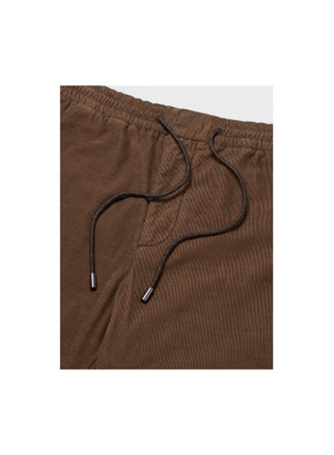 Drawstring Corduroy Jogger Pants in Dark Taupe