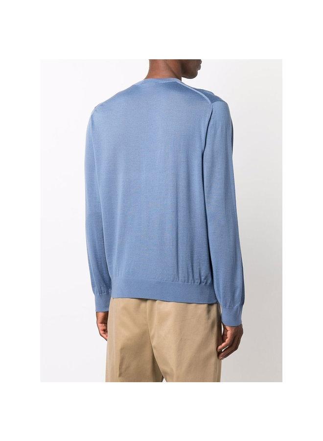 Crew Neck Sweater in Avio Blue