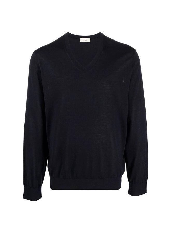 V Neck Sweater in Blue