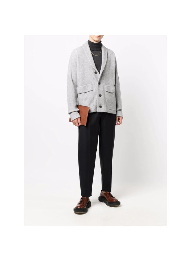 Button Up Knitted Cardigan in Light Grey
