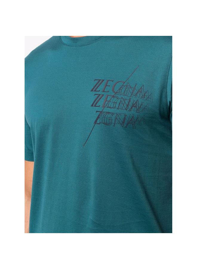 Logo Print T-Shirt in Light Blue