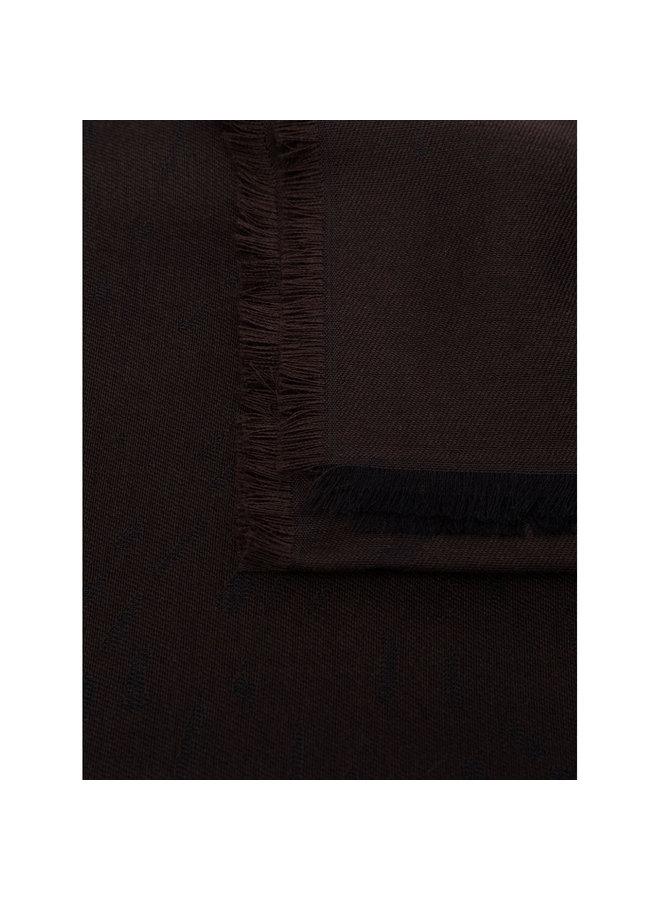 Patterned Scarf in Dark Brown
