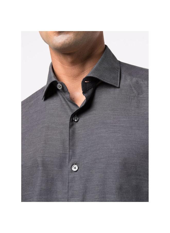 Poplin Twill Casual Shirt in Dark Grey