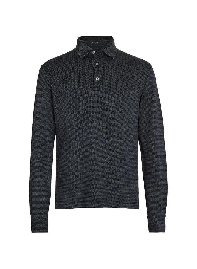 Checked Knit Polo Shirt