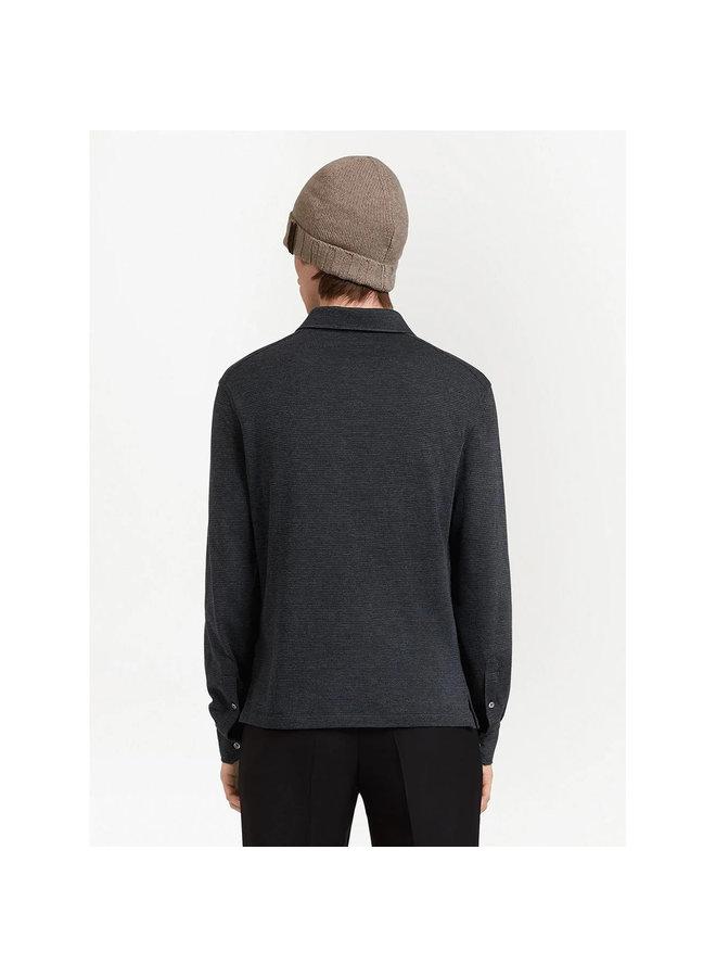 Checked Knit Polo Shirt in Dark Grey