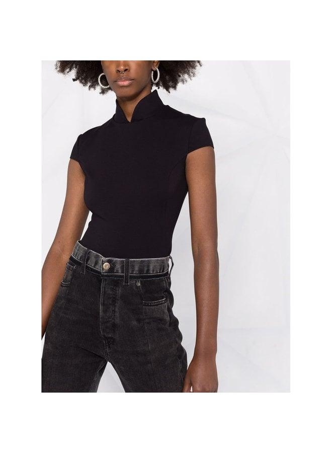 Band Collar Bodysuit in Black