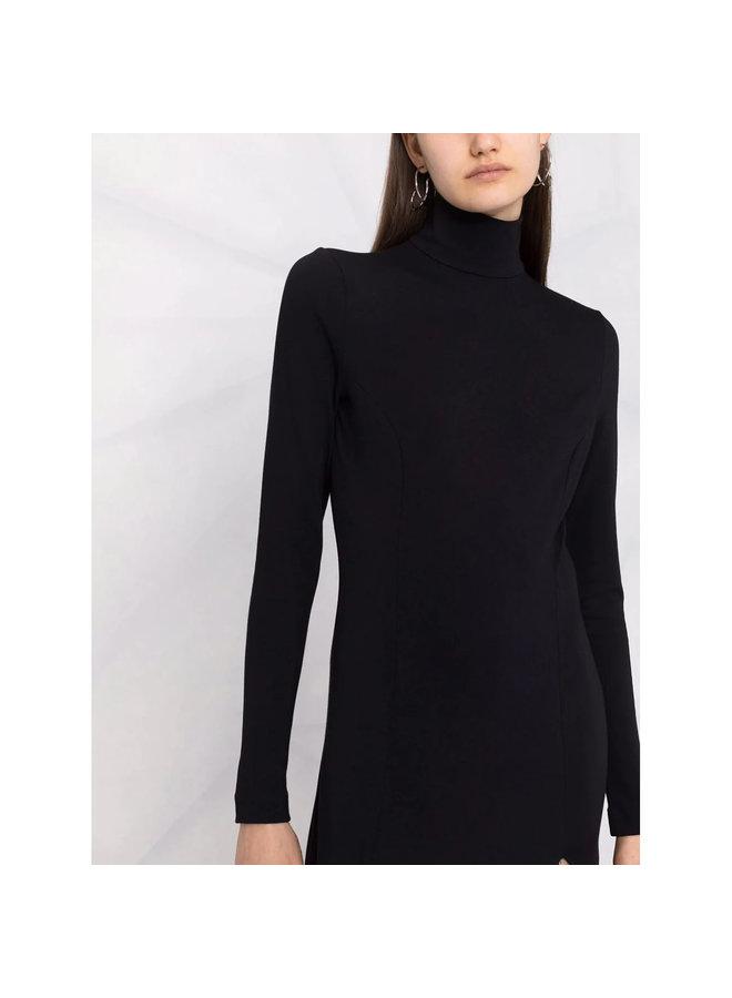 Turtleneck Long Sleeve Midi Dress in Black