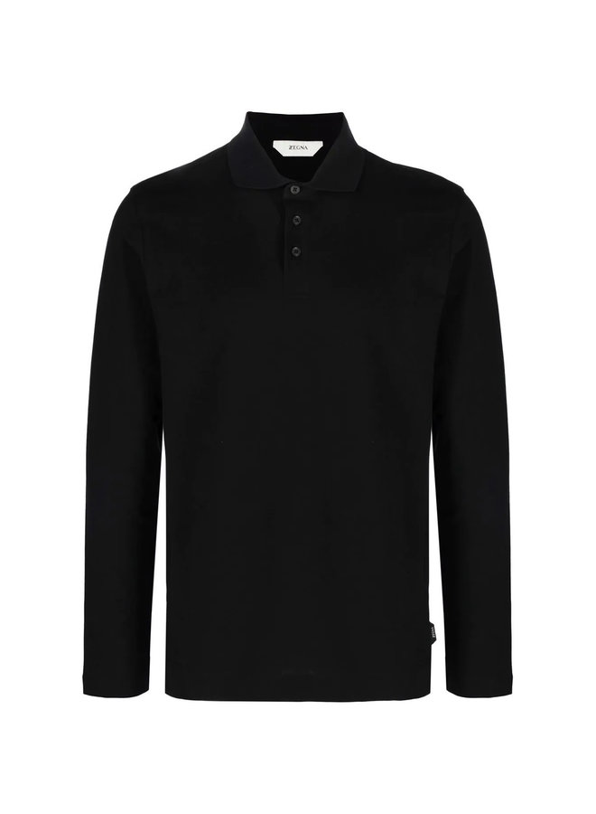 Long Sleeve Polo T-Shirt in Black