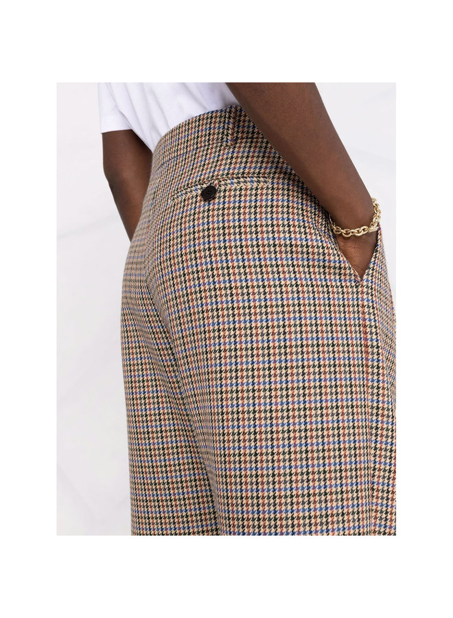 High Waisted Cropped Pants in Beige/Rust