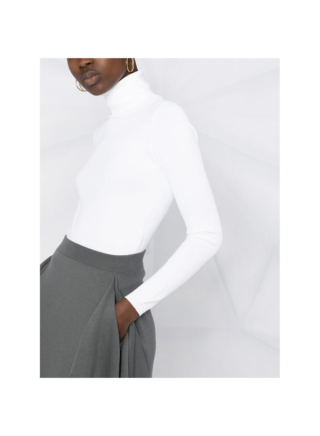 Turtleneck Knitted Jumper in Optical White