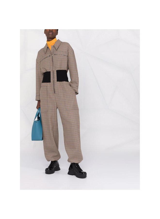 Full Length Printed Jumpsuit in Beige/Rust
