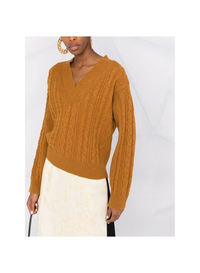 V-Neck Knitted Sweater in Brown