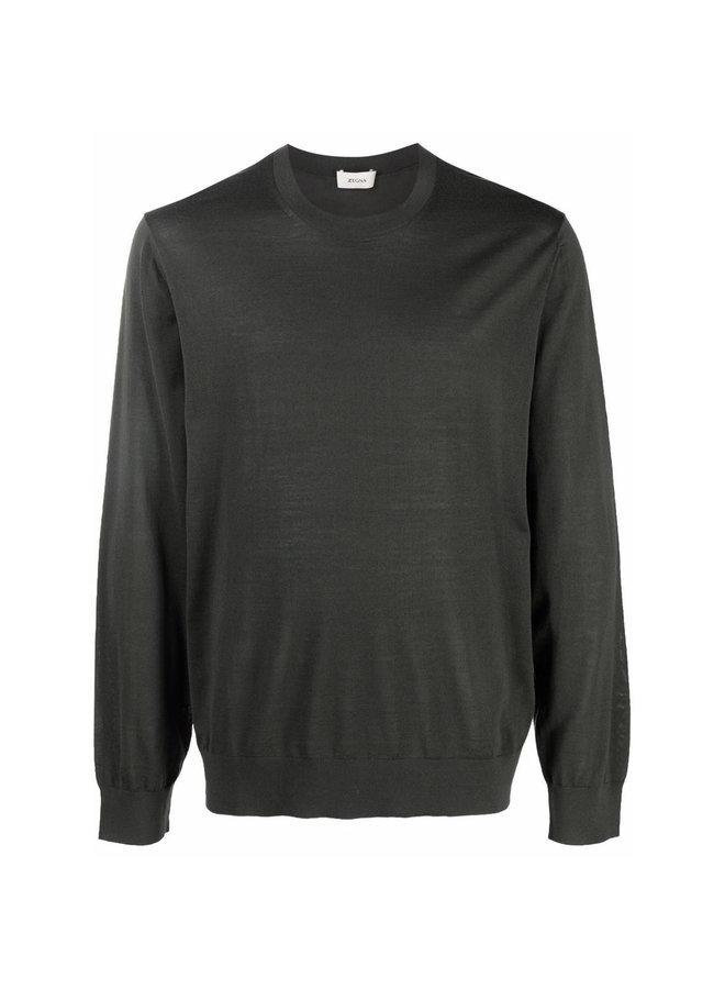 Crew Neck Sweater in Dark Green