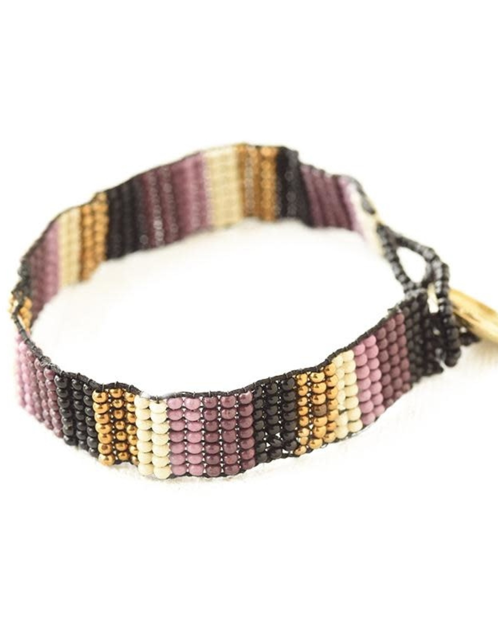 INK + ALLOY Port Lilac Gold Black Ivory Beaded Bracelet