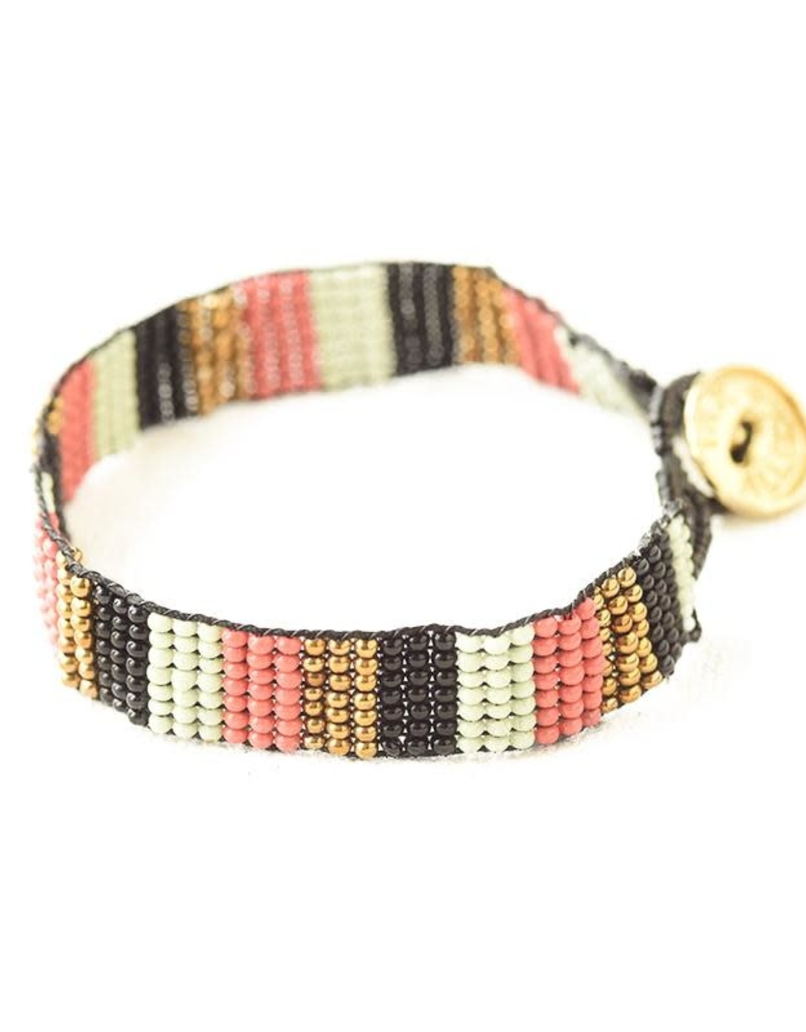 INK + ALLOY Mint Terra Cotta Gold Black Beaded Bracelet