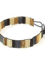 INK + ALLOY Navy Black Ivory Gold Beaded Bracelet