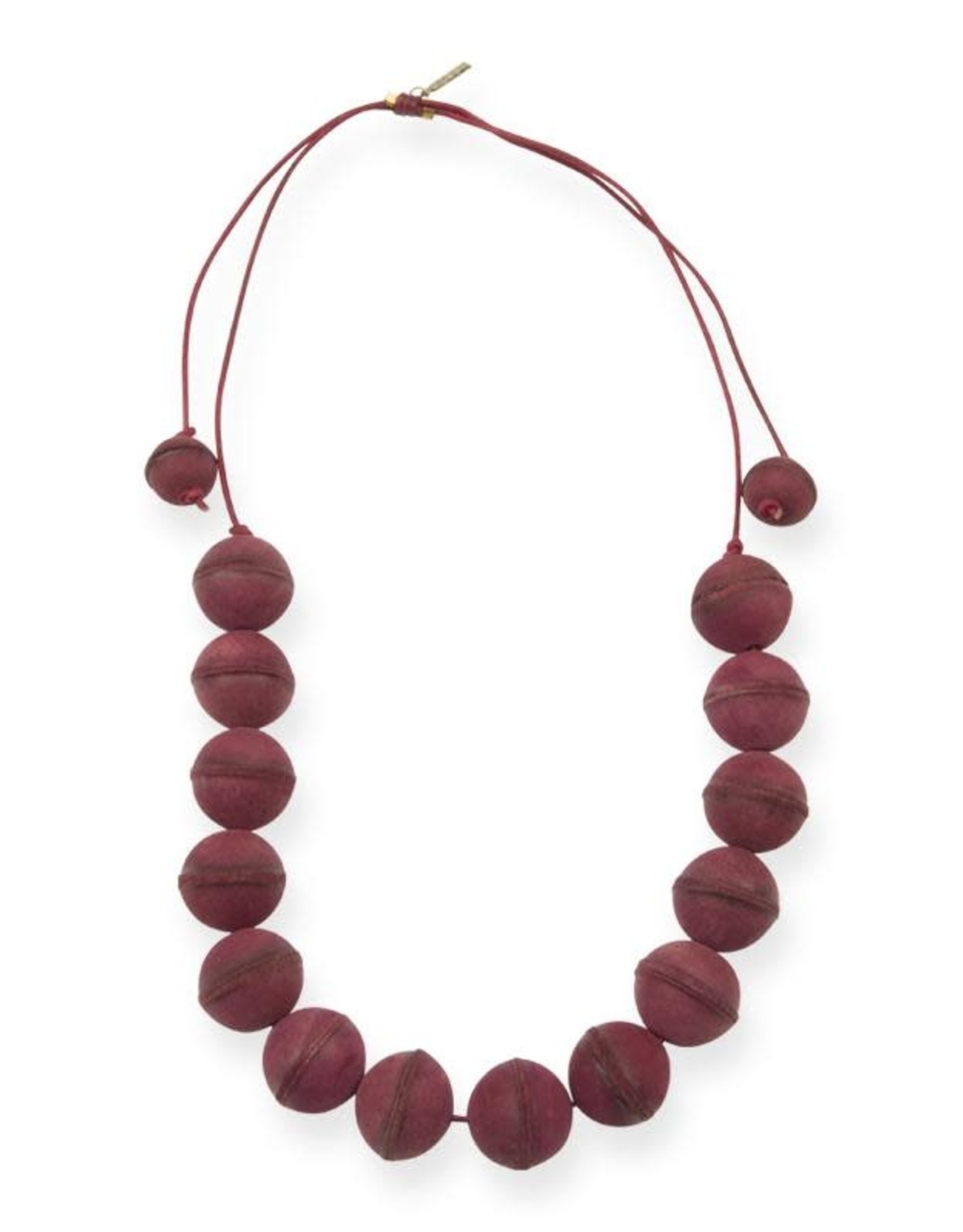 INK + ALLOY Magenta Leather Bead Adjustable Necklace