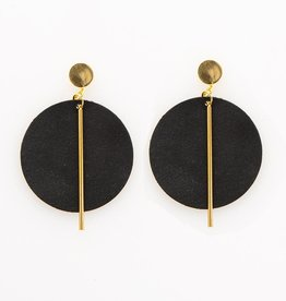 INK + ALLOY Black Circle With Brass Leather Earring
