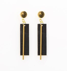 INK + ALLOY Rectangle And Brass Black Leather Earring